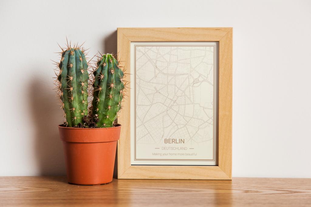 Berlin Karte als Poster - Beige