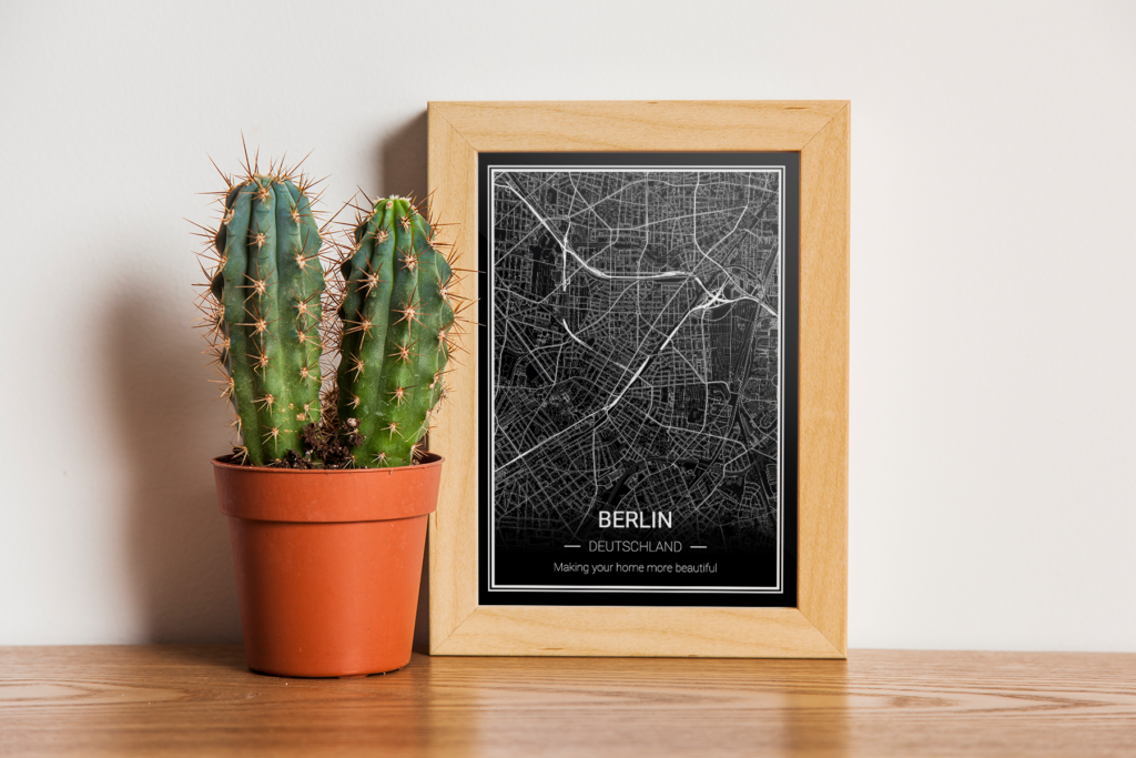 Berlin Karte als Poster - schwarz