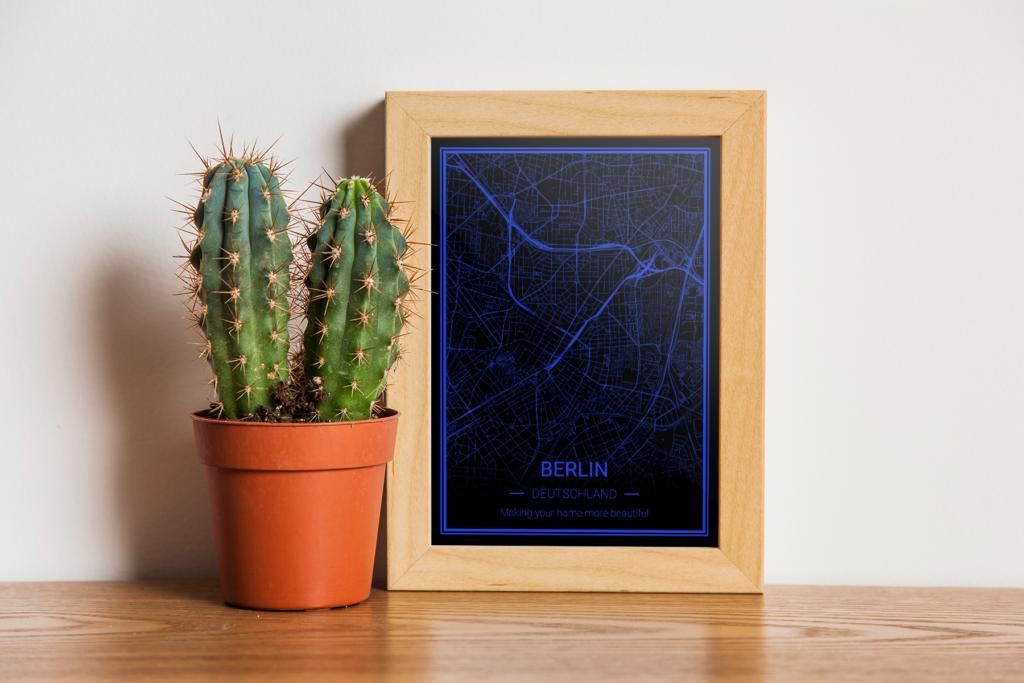 Berlin Karte als Poster - schwarz-blau