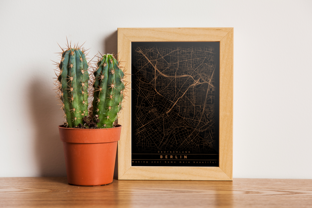 Berlin Karte als Poster - gold