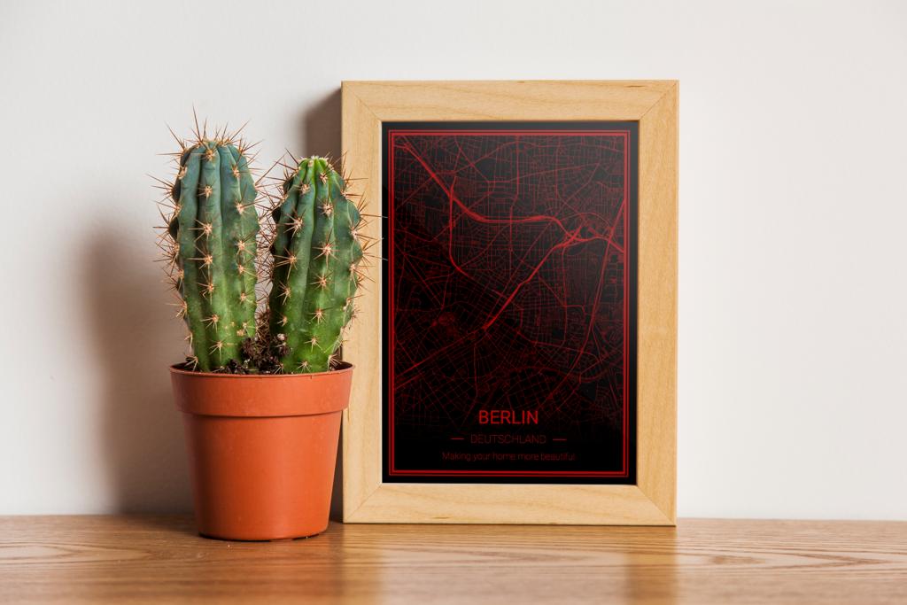 Berlin Karte als Poster - schwarz-rot