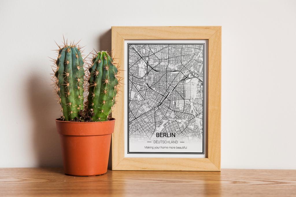 Berlin Karte als Poster - weiß